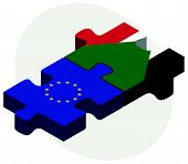 stock photo of sudan  - European Union and Sudan Flags in puzzle isolated on white background - JPG