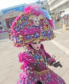 foto of venice carnival  - Character in colorful costumes at the carnival in Venice - JPG