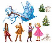 stock photo of snow queen  - Set cartoon Characters Gerda  - JPG