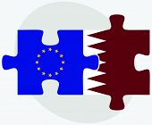 foto of qatar  - European Union and Qatar Flags in puzzle isolated on white background - JPG