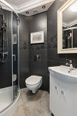 pic of guest-house  - Black and white washroom in modern house - JPG