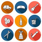 Set of cute hand drawn icons with shadows on Cuba theme poster