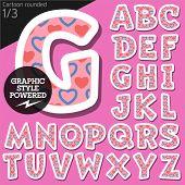 stock photo of flirty  - Vector children alphabet set in flirty pink heart style - JPG