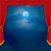 stock photo of curtains stage  - moonlight on red curtain stage - JPG