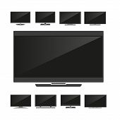 stock photo of tv sets  - Set of silhouettes TV isolated on white background - JPG