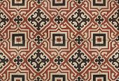 picture of floor covering  - Top view tiled floor with brown mediterranean decorations - JPG