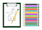 image of donkey  - Illustration of clipboard with donkey sketch and pencils isolated - JPG