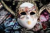 picture of venetian carnival  - Close up carnival venetian mask and fan - JPG