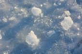picture of fragmentation  - Fragmented and cracked ice at sunset as a background - JPG