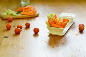 stock photo of celery  - fresh celery sticks carrot and blue cheese sauce on wooden background - JPG