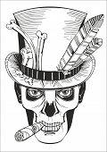 foto of day dead skull  - day of the dead baron samedi vector illustration - JPG