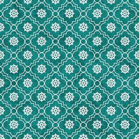 stock photo of dharma  - Teal and White Wheel of Dharma Symbol Tile Pattern Repeat Background that is seamless and repeats - JPG