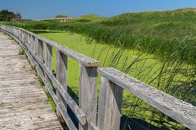 stock photo of marshes  - A walkway over the marsh along the sand dunes in Prince Edward Island National Park - JPG