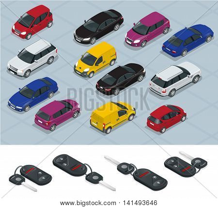 poster of Car and Car keys icons. Car keys. Flat 3d isometric vector high quality city transport car icon set. Car, van, cargo truck, off-road. Transport set. Set of urban public and freight transport