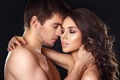 Sexy Beauty Couple.kissing Couple Portrait.sensual Brunette Woman In Underwear With Young Lover, Pas poster