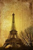 old-fashioned Eiffel Tower in nightfall - paris France