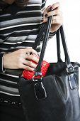 Closeup Female's Hands Puts Purse In The Bag