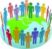 picture of eastern hemisphere  - Population of Earth people meet in a world circle on a globe Eastern Hemisphere - JPG