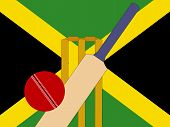 picture of jamaican flag  - cricket bat and stumps with Jamaica Flag - JPG