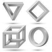Постер, плакат: Shaded impossible geometric object set vector template Impossible illusion triangle cube infinite