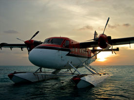 picture of float-plane  - A photo taken in the Maldives of a Twin Otter on floats moored for the night - JPG