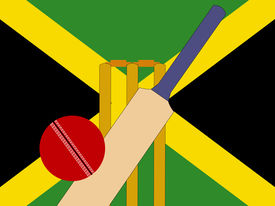 pic of jamaican flag  - cricket bat and stumps with Jamaica Flag - JPG