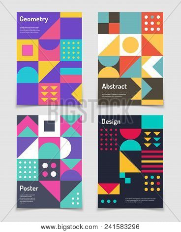 poster of Retro Swiss Graphic Posters With Geometric Bauhaus Shapes. Vector Abstract Backgrounds In Old Modern
