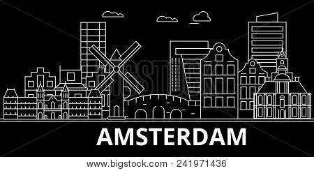 Amsterdam Silhouette Skyline Netherlands Amsterdam