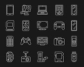 Device Thin Line Icons Set. Outline Monochrome Web Sign Kit Of Gadget. Electronics Linear Icon Colle poster