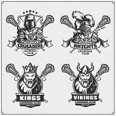 Lacrosse Club Emblems With Viking, King, Knight And Crusader. poster
