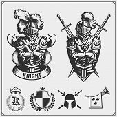 Vector Set Of Medieval Warrior Knight Emblems, Badges, Labels, Badges Emblems, Signs And Design Elem poster