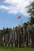 Jamestown Colony Fence With British Flag