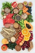 Healthy high fibre dietary food concept with fruit, vegetables, nuts, seeds, cereals, whole grain se poster