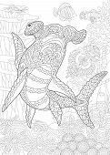 Underwater Background With Hammer Head Shark. Coloring Page. Adult Coloring Book Idea. Antistress Fr poster