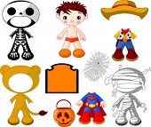 Paper Doll boy with costumes for Halloween Party