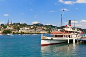 Lucerne City View With Steam Ship, Switzerland