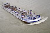 pic of coal barge  - Ship on water with oil goods closeup - JPG