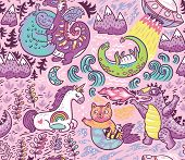 Kids Background With Fantastic Animals. Yeti, Dragon, Unicorn, Cat And Mermaid, Lochness, Ufo And Go poster