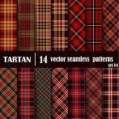 Set Tartan Seamless Pattern. Trendy Illustration For Wallpapers. Tartan Plaid Inspired Background. S poster