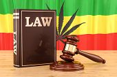 Legality Of Cannabis Concept With Rasta Flag, 3d Rendering poster