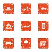 Game Play Area Icons Set. Grunge Set Of 9 Game Play Area Vector Icons For Web Isolated On White Back poster