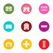 City Centre Icons Set. Flat Set Of 9 City Centre Vector Icons For Web Isolated On White Background poster