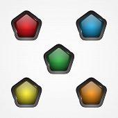 Design Vector Pentagon Button For Web Button Icon. Web Shiny Buttons. Vector Illustration Eps.8 Eps. poster
