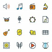 Audio Icons Colored Line Set With Earphones, Folder, Music Level And Other Gramophone Elements. Isol poster