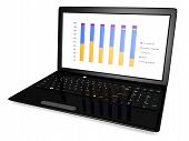 Business Laptop With Graph Isolated