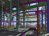 3D Rendering Of A Model Of A Building Construction Structure Made Of Metal Structures. 3D Engineerin poster