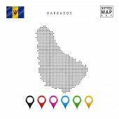 Постер, плакат: Dotted Map Of Barbados Simple Silhouette Of Barbados The National Flag Of Barbados Set Of Multico