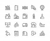 Simple Set Of Oil Related Vector Line Icons. Contains Such Icons As Gas Station, Oil Factory, Transp poster