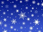 Border of snowflakes fading into a blue background