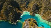 Tropical Lagoon With Azure Water, Beach By The Kayangan Lake, Philippines. Aerial View Coron Island, poster